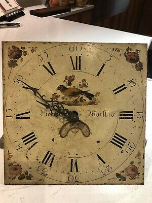Antique Painted / Enamelled Clock  Face & hands / Grandfather Longcase Clock