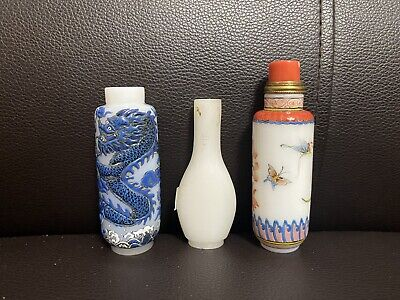 Lot of 3 Chinese Glass Snuff Bottles