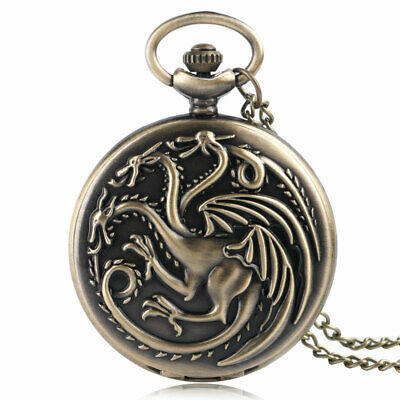 Cool Quartz Pocket Watch Full Hunter Bronze Fire and Blood Necklace Chain Watch