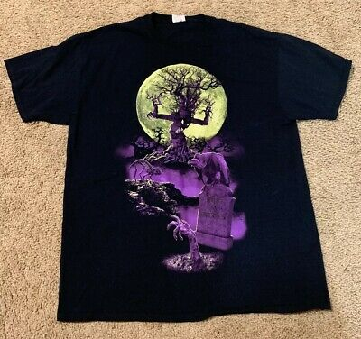 GLOW-IN-THE-DARK Moon Graveyard t-shirt SIZE EXTRA LARGE XL Halloween