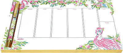 Lilly Pulitzer Undated Weekly Planner Desk Pad and Black Ink Pen, Notepad 52 for