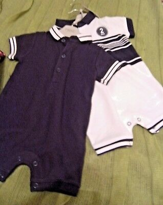 NEXT baby polo shirt navy and white playsuits pack of 2, 3-6 mths rrp £14 BNWT