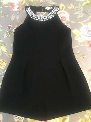 Girls River Island Black Jewelled Party Occasion Playsuit Size 5 Years