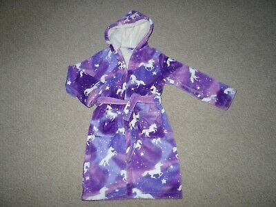 Girls Blue Zoo Lilac Mix Chunky Hooded Unicorn Dressing Gown Age 9-10 years