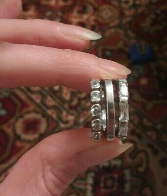Stunning Solid Sterling Silver Statement Ring With Baguette & Round CZ Crystals