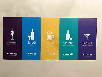 United Airlines 5 Beverage Drink Tickers Vouchers Coupons Expires 1/31/20