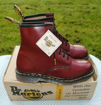 💥Brand New Vintage Dr Martens Cherry Red  Boots UK 8  Made in England 1460💥