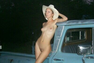 Nude Cowgirl leaning on classic pickup truck-original color poster