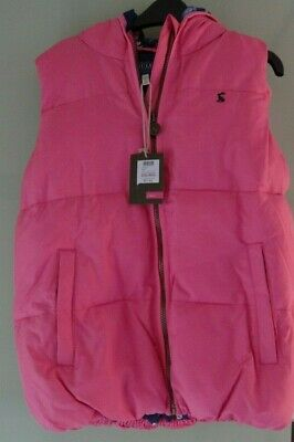 Girls Joules Padded & Hooded Pink Gilet  Bodywarmer Size 11 12 Years Bnwt