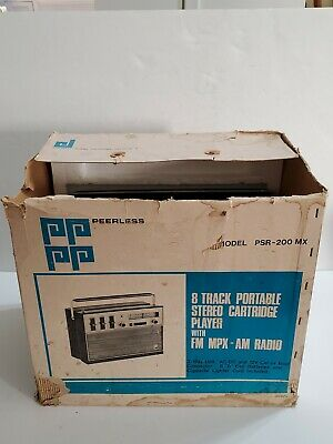 Vintage Peerless 8 Track Stereo Player With FM/AM Radio model PSR- 200 MX works