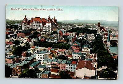 Albany N Y New York 2 Camden Ohio Birds Eye View Capitol And City Postcard A 4-2