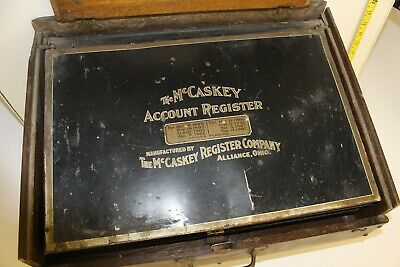 Vintage McCaskey Account Register Company Counter Receipt Recorder Wood & Tin