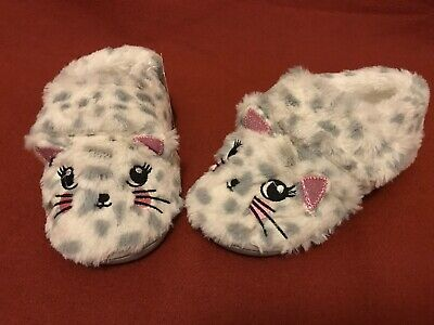 Children's Kids Girls Cat Kitty Sleepers Size 1 White Pink Grey Fluffy Soft New