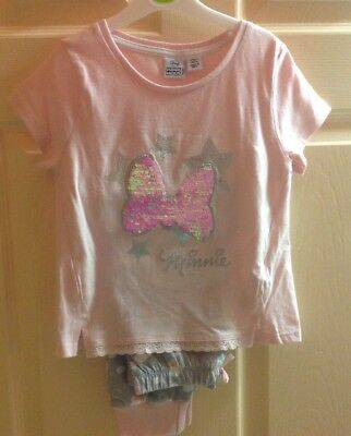 Girls Pink MINNIE MOUSE pyjamas BNWT Sequin Detail Age 4-5 Years