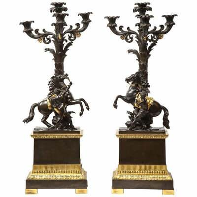 A Large Pair of French Restauration Ormolu & Patinated Bronze Candelabra, Horses