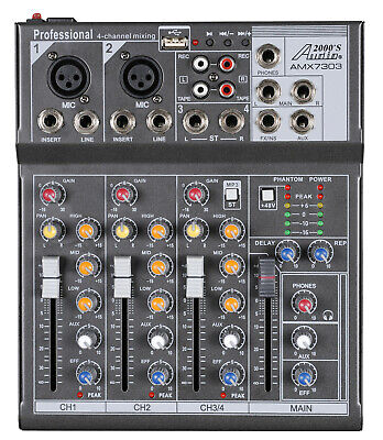 Audio2000s AMX7303 4-Ch.Audio Mixer with USB and DSP Processor-NEW