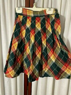 1940's Girl's Skirt - Small - Pleated Wool Plaid- Red,Green,Yellow  - BARGAIN