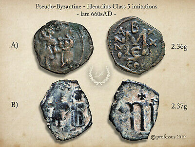 RARE late Pseudo Arab Byzantine V.Light Fals Heraclius Class 5 Follis Imitations