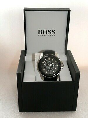 Hugo Boss Men's Watch Quartz Analogue with leather strap 1512926 worn once Boxed