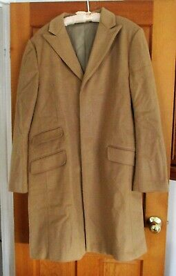 Banana Republic Mens Tan Overcoat,  61% Wool 28% Cashmere, Size Xl. Preowned.