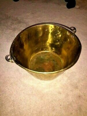 "Antique LARGE 16.5""  by 10"" Solid BRASS BUCKET/PAIL with Riveted Hinged HANDLE"