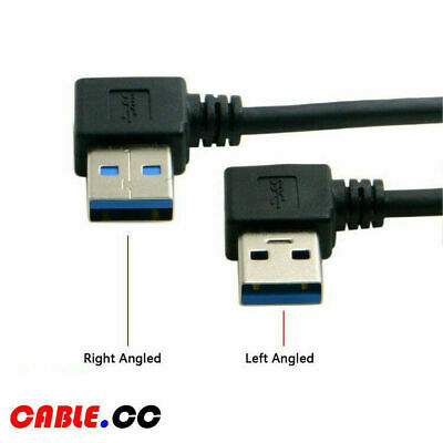 Cablecc USB 3.0 Type-A Male 90 Degree Left to Right Angled Male Extension Cable