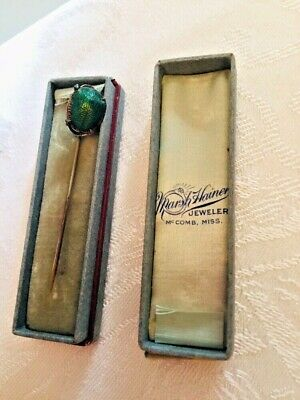 Antique Victorian Sterling Egyptian Revival Beetle Scarab Stick Pin W/Orig Box
