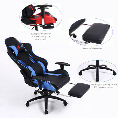 High Back Swivel Chair Racing Gaming Chair Office Chair with Footrest Tier Black
