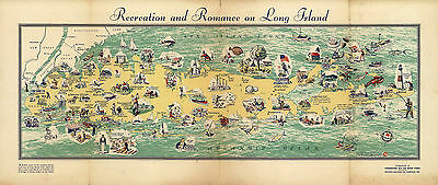 Early Pictorial Map of Long Island Vintage History Wall Art Poster Genealogy