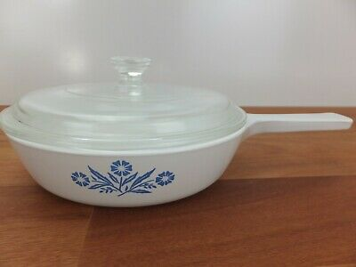 Vintage CORNING WARE Cornflower Blue P 83 16cm Handled Frypan With Lid