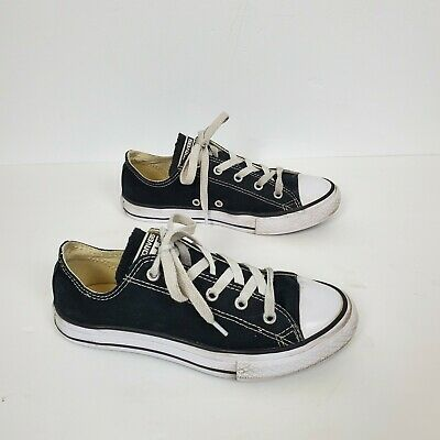 Converse All Star Girls Low Top Shoes Size 3 Youth Black/ White
