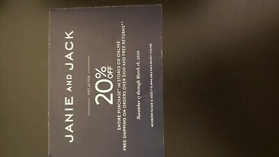 Janie & Jack 20% off Entire Purchase Expires 3-16-2020 In Stores or Online