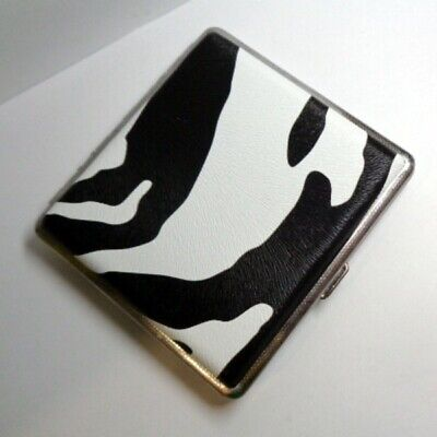 Zebra or Snake Skin Design Metal Cigarette Case Smoke Holder Slim Holds 20pcs