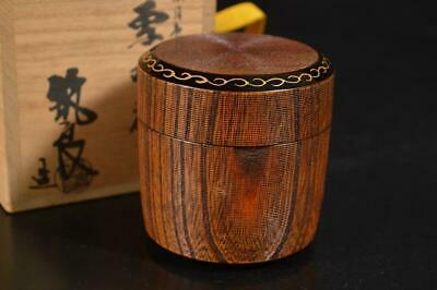 A3370: Japanese Wooden Ring line sculpture TEA CADDY Natsume Container w/box