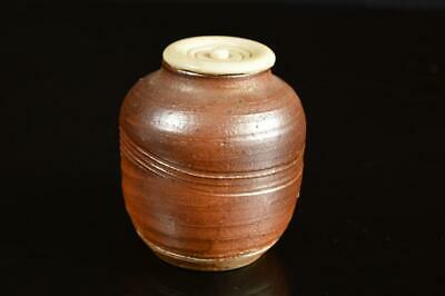 A4369: Japanese Seto-ware Brown glaze TEA CADDY Chaire Container Tea Ceremony