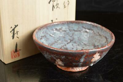 A4326: Japanese Shino-ware White glaze Gourd pattern TEA BOWL w/signed box
