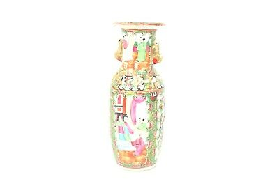 19th Century Chinese Rose Medallion Hand Painted Vase w/Applied Handles