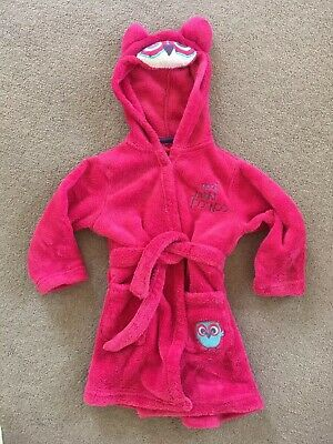 Girls Dressing Gown. Pink Owl! Age 12-18mths. Warm And Fluffy!