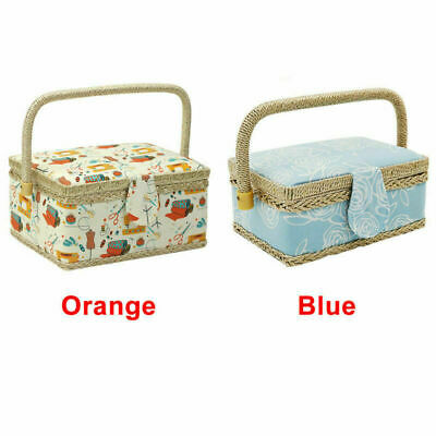 Women Lady Home Sewing Basket Cotton Fabric Multi-function Storage Box Gifts