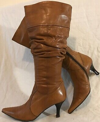 Clarks Light Brown Mid Calf Leather Lovely Boots Size 4 (645QQ)