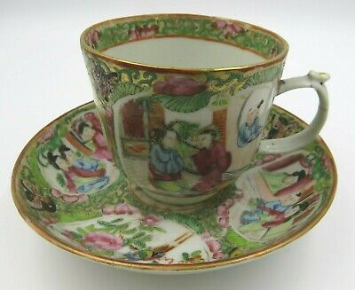 Antique C19th Chinese Cup & Saucer, Famille Rose Style, Oriental Hand-Painted