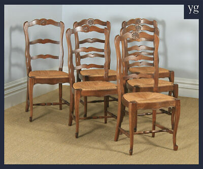 Antique French Set of 6 Six Louis XV Style Oak Ladder Back Kitchen Dining Chairs