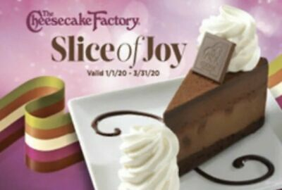 Ten (10) Cheesecake Factory Slices of Joy Cards Valid 1/1/2020 - 3/31/2020