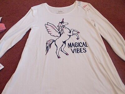 nwt-justice-girls size 12 swingy top  white unicorn /magical vibes