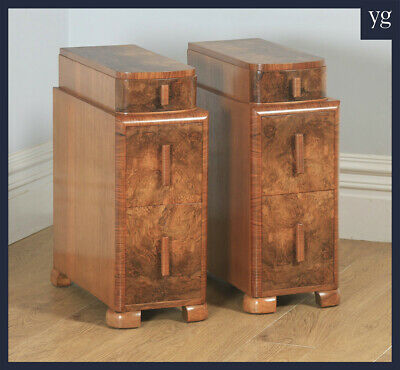 Antique English Pair of Art Deco Burr Walnut Bedside Chests Cupboards Tables