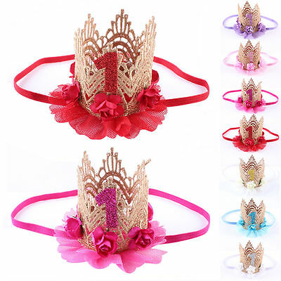 Headwear Kids Girl Baby Toddler Lace Flower Crown Headband Hair Band Accessories