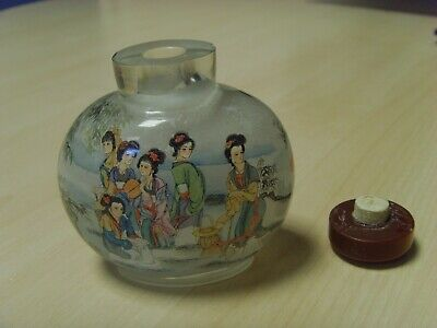 Stunning signed Chinese reverse painted Snuff / perfume bottle age unknown