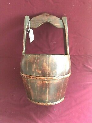 Antique Chinese Wood Water Bucket with  Natural Binding On Middle And Bottom