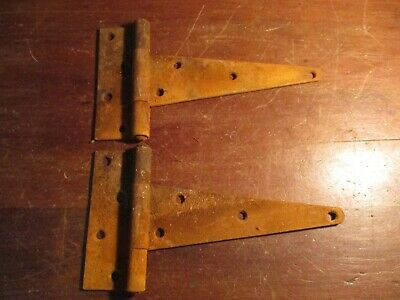 "Vintage Pair of ""T"" Strap Barn Door Gate Hinges  10"" x 5 1/2"""