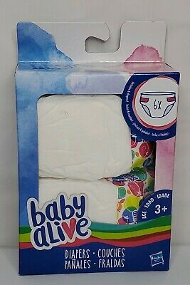 Hasbro Baby Alive Diapers Pack 6 Pack New in Package Ages 3+